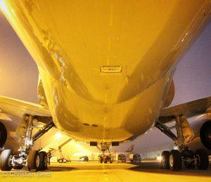 Below the Lufthansa A350