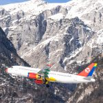 Danish Air Transport A320 in front of the tyrolean mountains