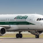Alitalia Airbus A320 taxiing at TRS